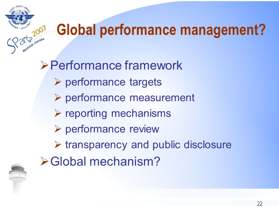 22 Global performance management.