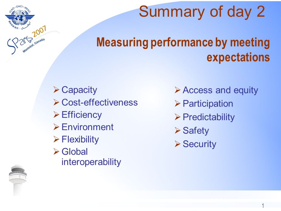 1 Measuring performance by meeting expectations Capacity Cost-effectiveness Efficiency Environment Flexibility Global interoperability Access and equity Participation Predictability Safety Security Summary of day 2