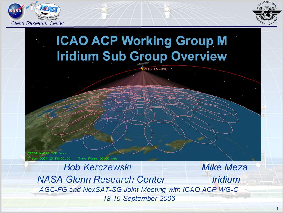 1 Glenn Research Center ICAO ACP Working Group M Iridium Sub Group Overview Bob Kerczewski Mike Meza NASA Glenn Research Center Iridium AGC-FG and NexSAT-SG Joint Meeting with ICAO ACP WG-C 18-19 September 2006