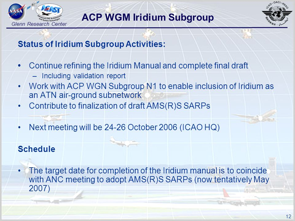 12 Glenn Research Center Status of Iridium Subgroup Activities: Continue refining the Iridium Manual and complete final draft –Including validation report Work with ACP WGN Subgroup N1 to enable inclusion of Iridium as an ATN air-ground subnetwork Contribute to finalization of draft AMS(R)S SARPs Next meeting will be 24-26 October 2006 (ICAO HQ) Schedule The target date for completion of the Iridium manual is to coincide with ANC meeting to adopt AMS(R)S SARPs (now tentatively May 2007) ACP WGM Iridium Subgroup