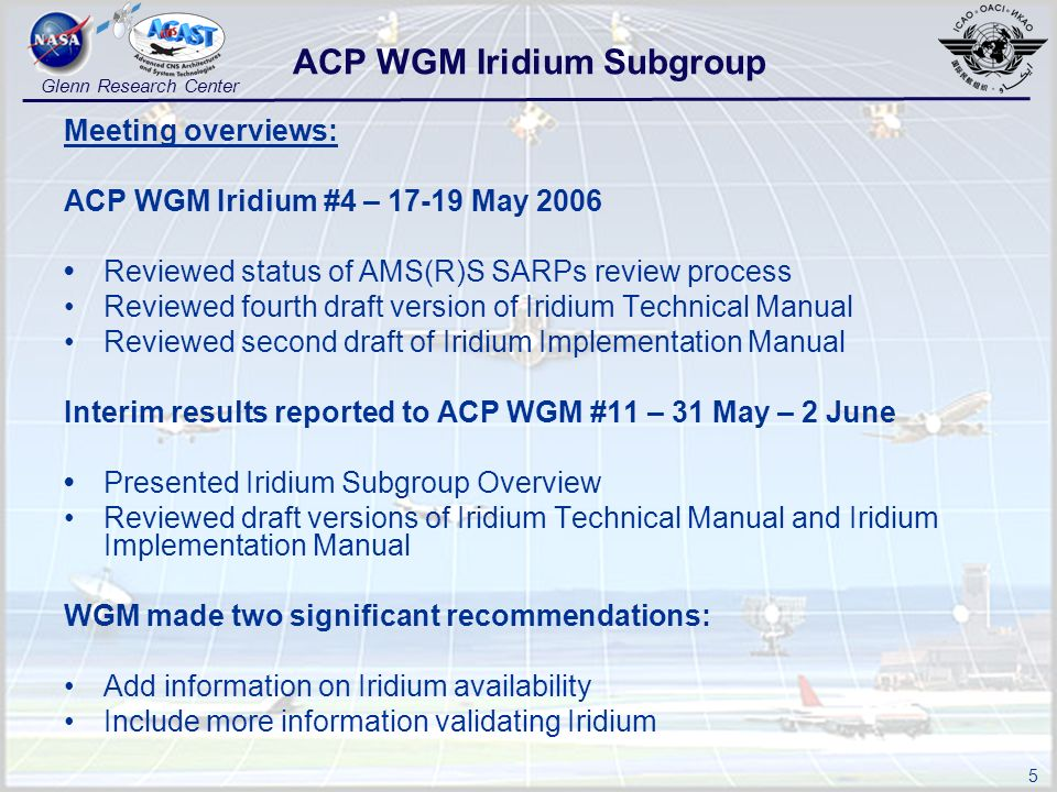 5 Glenn Research Center Meeting overviews: ACP WGM Iridium #4 – 17-19 May 2006 Reviewed status of AMS(R)S SARPs review process Reviewed fourth draft version of Iridium Technical Manual Reviewed second draft of Iridium Implementation Manual Interim results reported to ACP WGM #11 – 31 May – 2 June Presented Iridium Subgroup Overview Reviewed draft versions of Iridium Technical Manual and Iridium Implementation Manual WGM made two significant recommendations: Add information on Iridium availability Include more information validating Iridium ACP WGM Iridium Subgroup