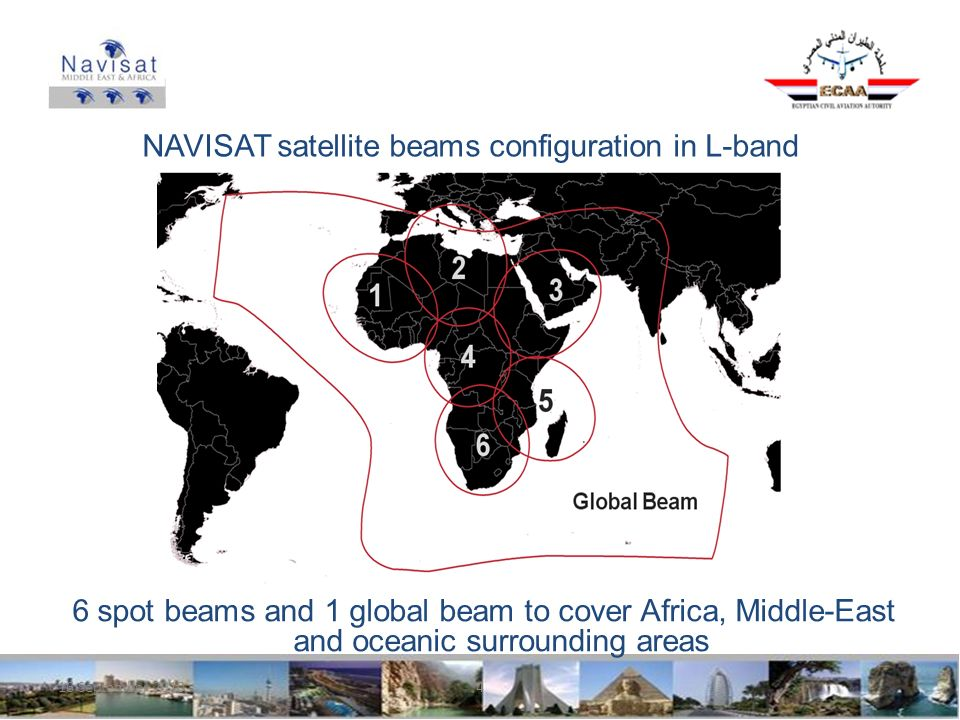 16 September 20104 NAVISAT satellite beams configuration in L-band 6 spot beams and 1 global beam to cover Africa, Middle-East and oceanic surrounding areas