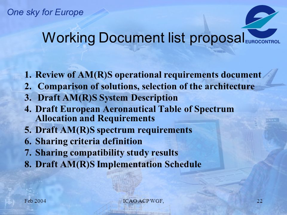 Feb 2004ICAO ACP WGF,22 Working Document list proposal 1.Review of AM(R)S operational requirements document 2.