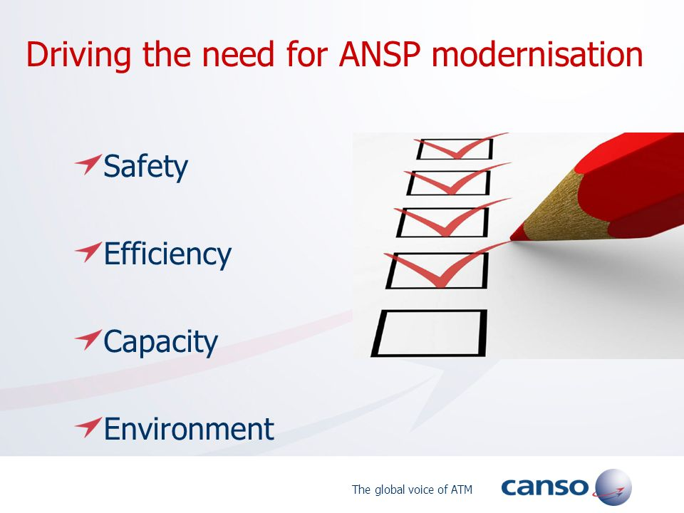 The global voice of ATM Driving the need for ANSP modernisation Safety Efficiency Capacity Environment