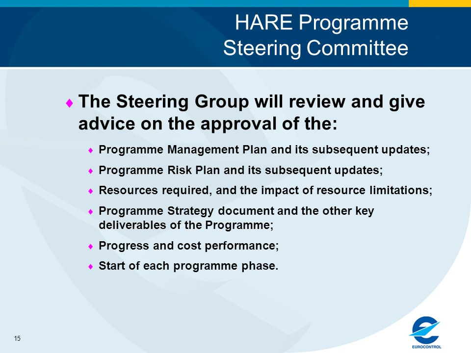 15 HARE Programme Steering Committee The Steering Group will review and give advice on the approval of the: Programme Management Plan and its subsequent updates; Programme Risk Plan and its subsequent updates; Resources required, and the impact of resource limitations; Programme Strategy document and the other key deliverables of the Programme; Progress and cost performance; Start of each programme phase.