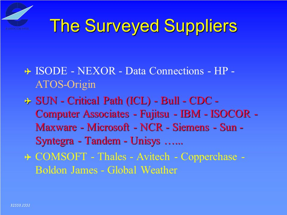The Surveyed Suppliers ( ISODE - NEXOR - Data Connections - HP - ATOS-Origin ( SUN - Critical Path (ICL) - Bull - CDC - Computer Associates - Fujitsu - IBM - ISOCOR - Maxware - Microsoft - NCR - Siemens - Sun - Syntegra - Tandem - Unisys …...