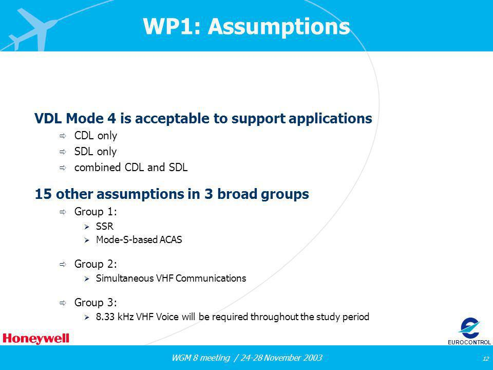 WGM 8 meeting / 24-28 November 2003 12 EUROCONTROL WP1: Assumptions VDL Mode 4 is acceptable to support applications CDL only SDL only combined CDL and SDL 15 other assumptions in 3 broad groups Group 1: SSR Mode-S-based ACAS Group 2: Simultaneous VHF Communications Group 3: 8.33 kHz VHF Voice will be required throughout the study period
