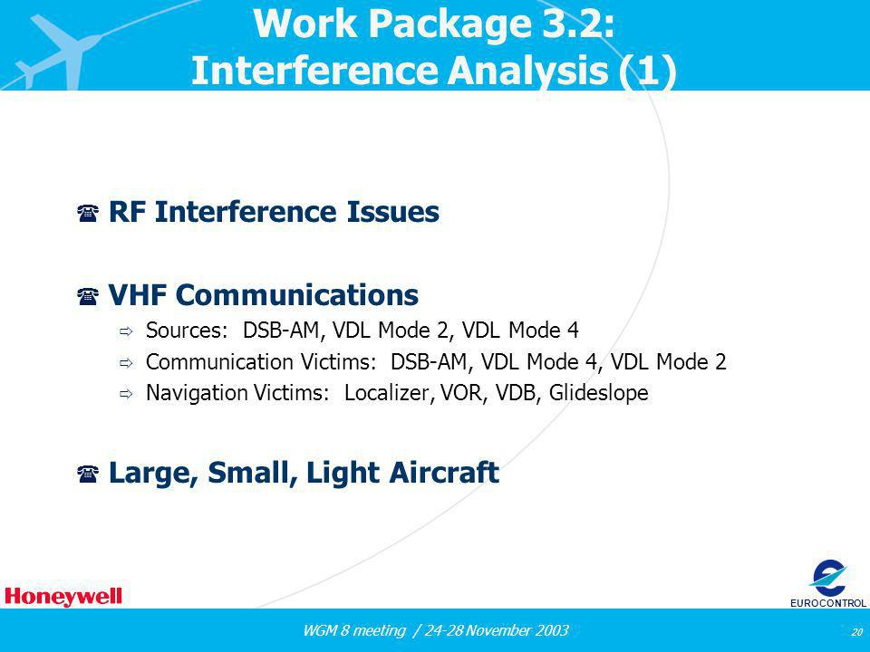 WGM 8 meeting / 24-28 November 2003 20 EUROCONTROL Work Package 3.2: Interference Analysis (1) ( RF Interference Issues ( VHF Communications Sources: DSB-AM, VDL Mode 2, VDL Mode 4 Communication Victims: DSB-AM, VDL Mode 4, VDL Mode 2 Navigation Victims: Localizer, VOR, VDB, Glideslope ( Large, Small, Light Aircraft