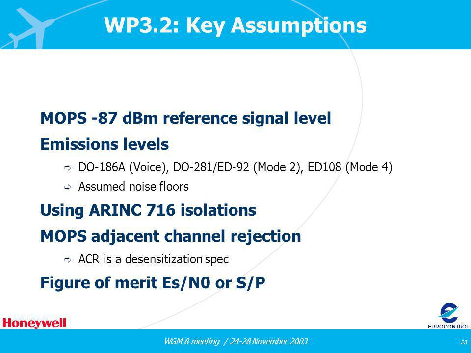 WGM 8 meeting / 24-28 November 2003 23 EUROCONTROL WP3.2: Key Assumptions MOPS -87 dBm reference signal level Emissions levels DO-186A (Voice), DO-281/ED-92 (Mode 2), ED108 (Mode 4) Assumed noise floors Using ARINC 716 isolations MOPS adjacent channel rejection ACR is a desensitization spec Figure of merit Es/N0 or S/P