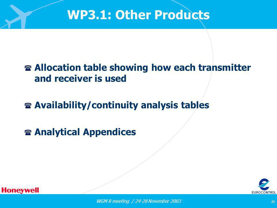 WGM 8 meeting / 24-28 November 2003 36 EUROCONTROL WP3.1: Other Products ( Allocation table showing how each transmitter and receiver is used ( Availability/continuity analysis tables ( Analytical Appendices