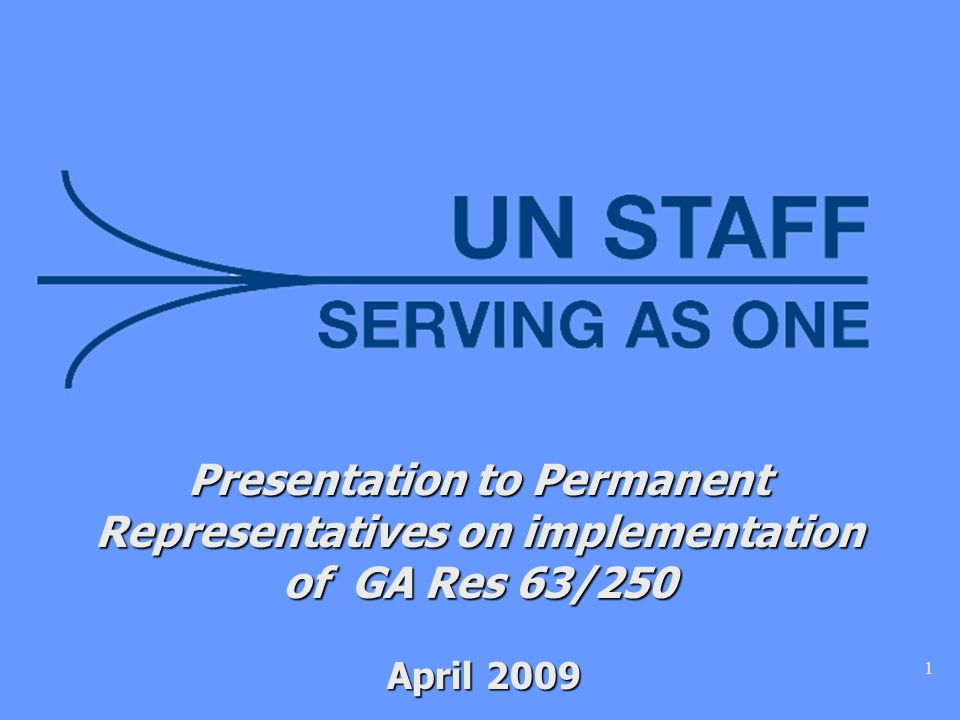 1 Presentation to Permanent Representatives on implementation of GA Res 63/250 April 2009 April 2009