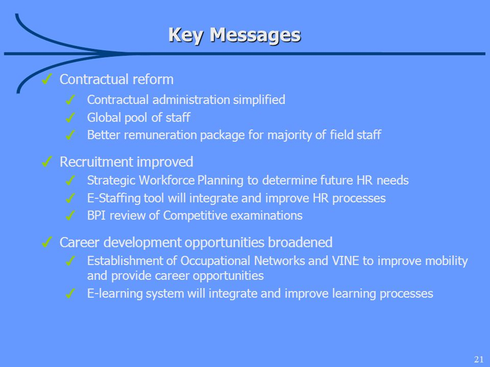 21 Contractual reform Contractual administration simplified Global pool of staff Better remuneration package for majority of field staff Recruitment improved Strategic Workforce Planning to determine future HR needs E-Staffing tool will integrate and improve HR processes BPI review of Competitive examinations Career development opportunities broadened Establishment of Occupational Networks and VINE to improve mobility and provide career opportunities E-learning system will integrate and improve learning processes Key Messages
