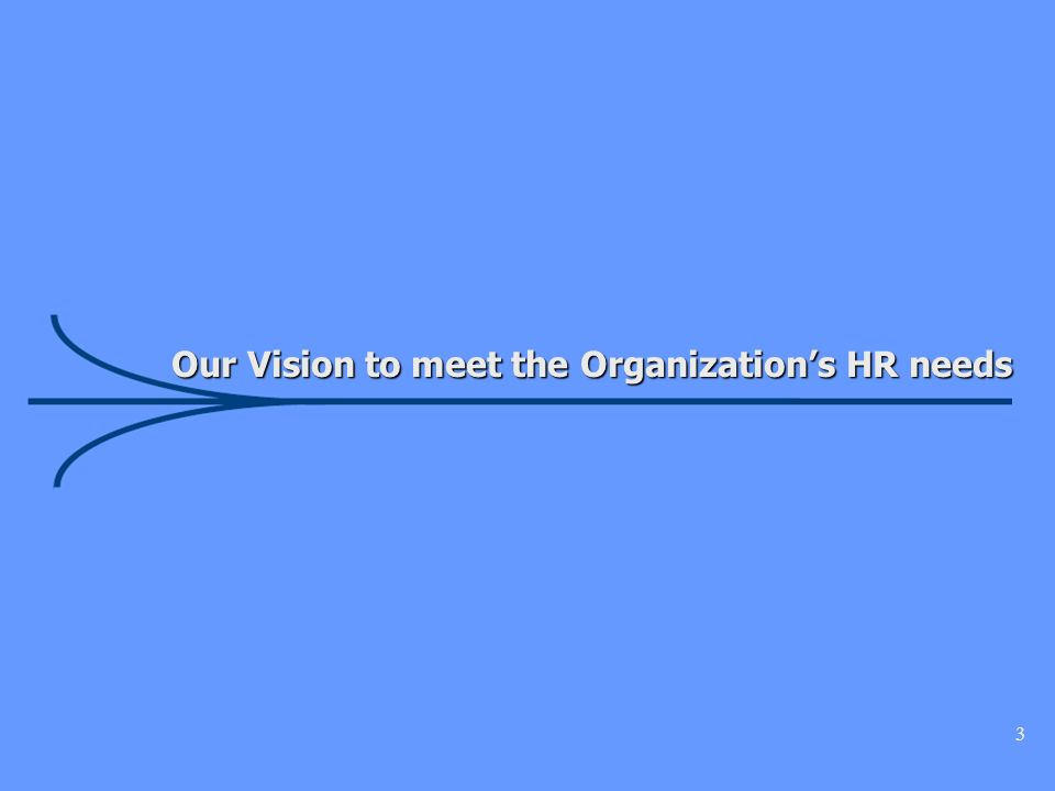 3 Our Vision to meet the Organizations HR needs Our Vision to meet the Organizations HR needs