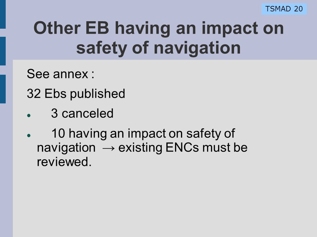 TSMAD 20 Other EB having an impact on safety of navigation See annex : 32 Ebs published 3 canceled 10 having an impact on safety of navigation existing ENCs must be reviewed.
