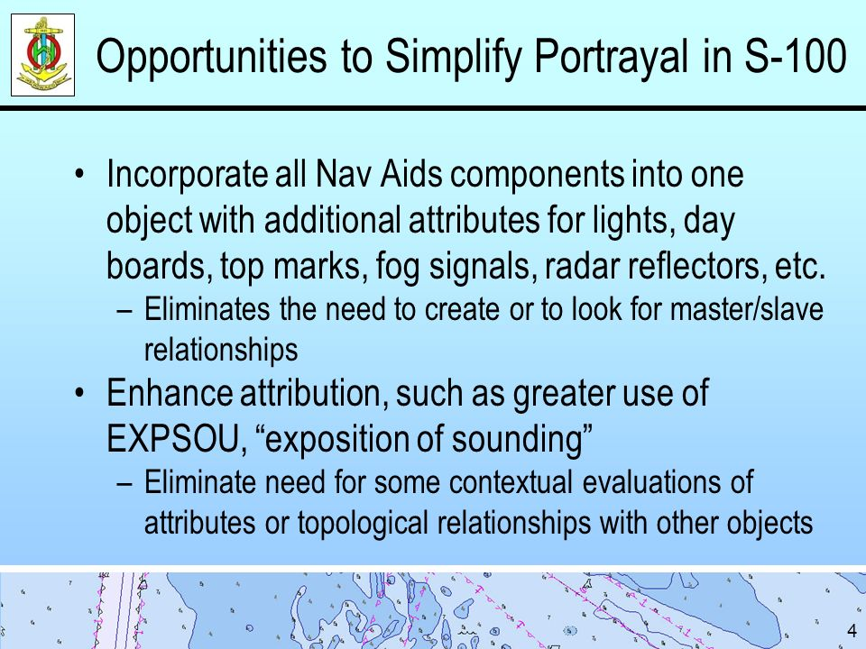 Opportunities to Simplify Portrayal in S-100 Incorporate all Nav Aids components into one object with additional attributes for lights, day boards, top marks, fog signals, radar reflectors, etc.