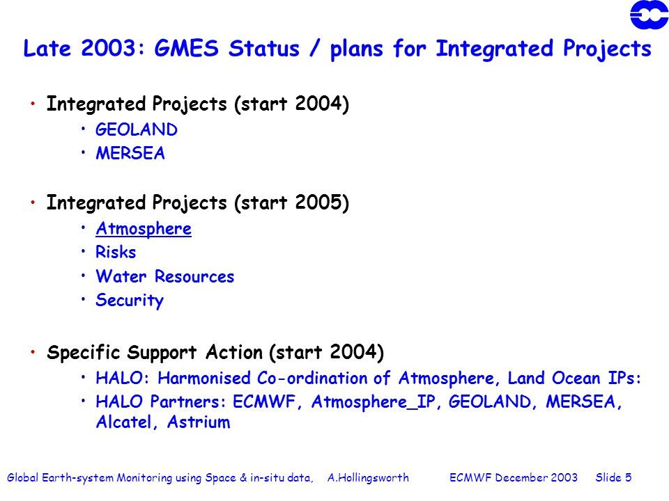 Global Earth-system Monitoring using Space & in-situ data, A.Hollingsworth ECMWF December 2003 Slide 5 Late 2003: GMES Status / plans for Integrated Projects Integrated Projects (start 2004) GEOLAND MERSEA Integrated Projects (start 2005) Atmosphere Risks Water Resources Security Specific Support Action (start 2004) HALO: Harmonised Co-ordination of Atmosphere, Land Ocean IPs: HALO Partners: ECMWF, Atmosphere_IP, GEOLAND, MERSEA, Alcatel, Astrium