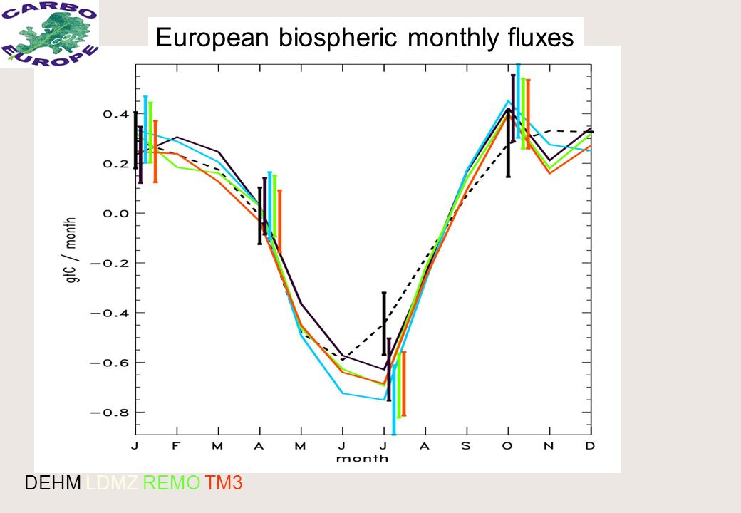 European biospheric monthly fluxes DEHM LDMZ REMO TM3
