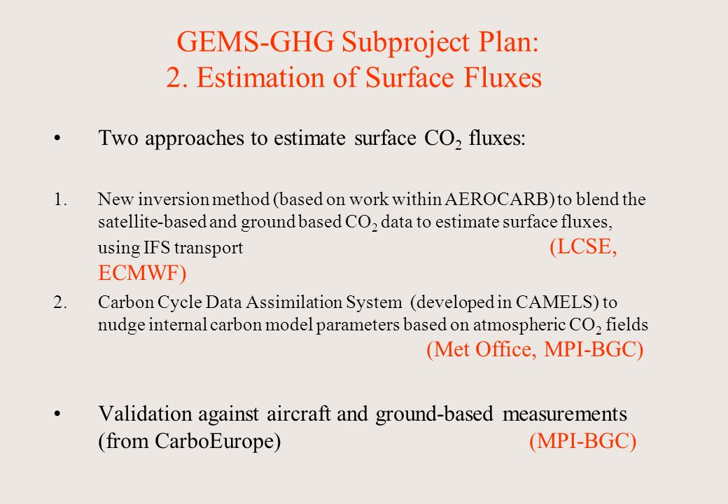 GEMS-GHG Subproject Plan: 2.