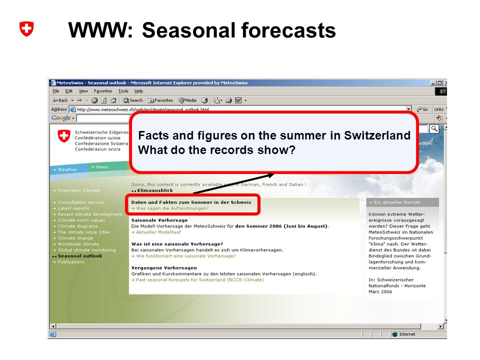 10 Extended range forecasts at MeteoSwiss – user experience and probabilistic verification ECMWF Forecast Products User Meeting, ECMWF, Reading, UK, June 2006 Andreas Weigel Facts and figures on the summer in Switzerland What do the records show.