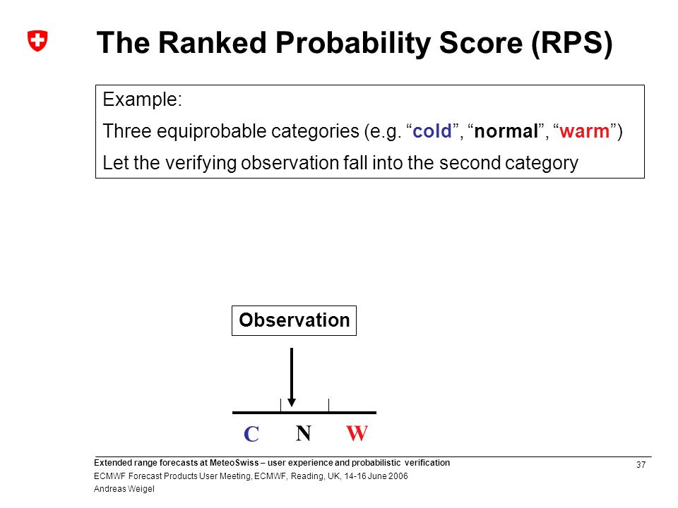 37 Extended range forecasts at MeteoSwiss – user experience and probabilistic verification ECMWF Forecast Products User Meeting, ECMWF, Reading, UK, June 2006 Andreas Weigel The Ranked Probability Score (RPS) Example: Three equiprobable categories (e.g.