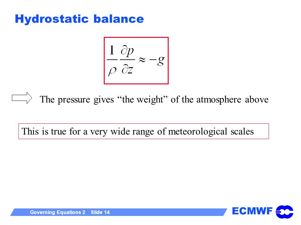 ECMWF Governing Equations 2 Slide 14 Hydrostatic balance The pressure gives the weight of the atmosphere above This is true for a very wide range of meteorological scales