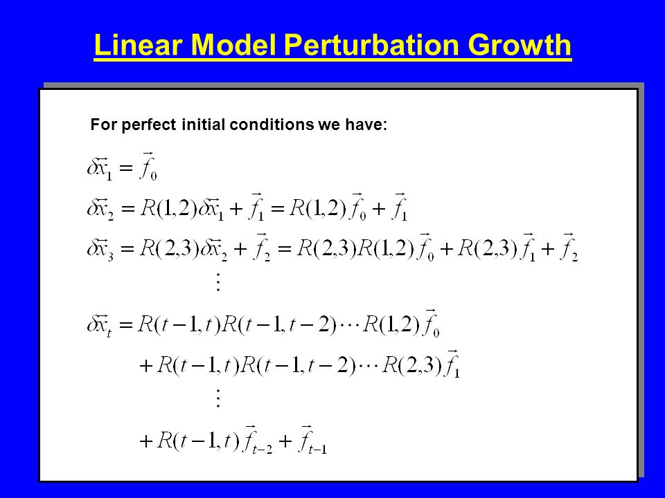 Linear Model Perturbation Growth For perfect initial conditions we have: