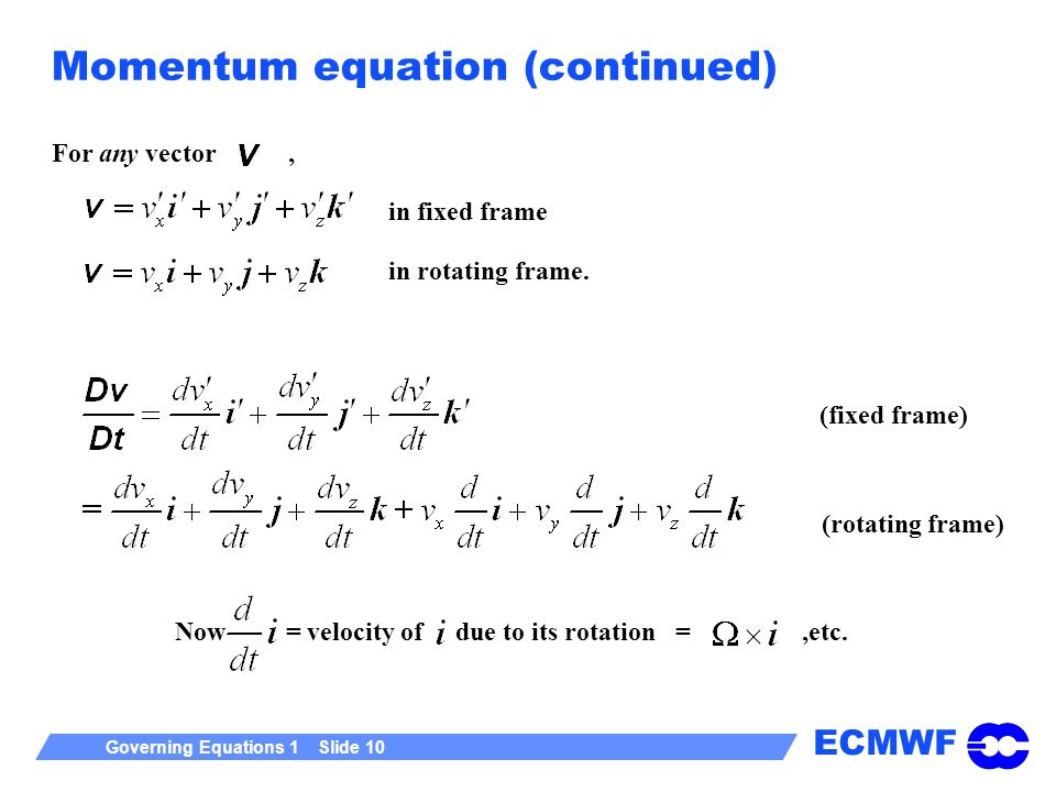 ECMWF Governing Equations 1 Slide 10 Momentum equation (continued) For any vector, in fixed frame in rotating frame.