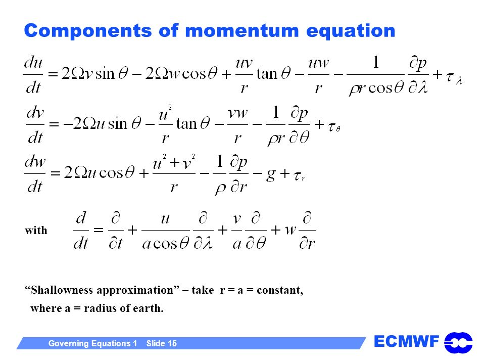ECMWF Governing Equations 1 Slide 15 Components of momentum equation Shallowness approximation – take r = a = constant, where a = radius of earth.