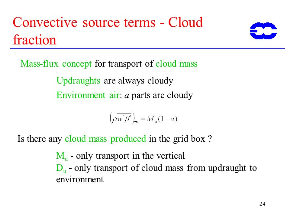 24 Convective source terms - Cloud fraction Mass-flux concept for transport of cloud mass Updraughts are always cloudy Environment air: a parts are cloudy Is there any cloud mass produced in the grid box .