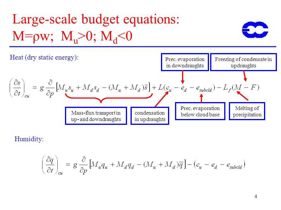 4 Large-scale budget equations: M=ρw; M u >0; M d <0 Mass-flux transport in up- and downdraughts condensation in updraughts Heat (dry static energy): Prec.
