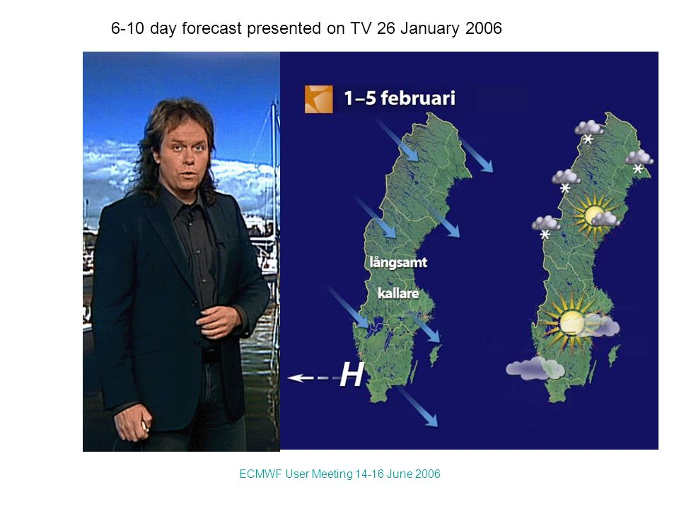 ECMWF User Meeting 14-16 June 2006 6-10 day forecast presented on TV 26 January 2006