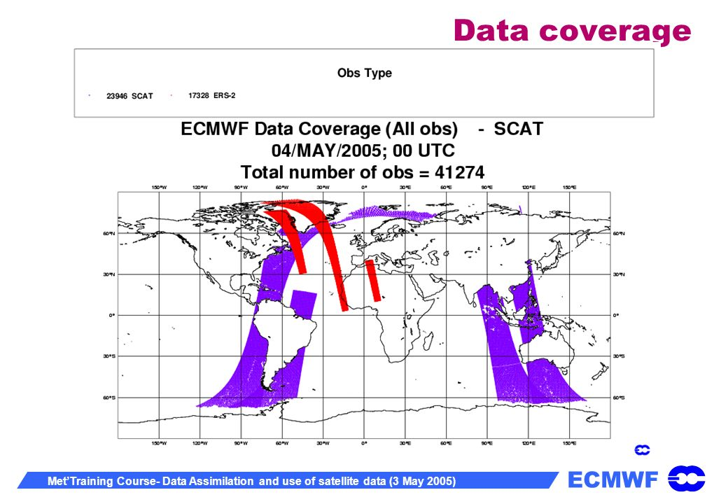 ECMWF MetTraining Course- Data Assimilation and use of satellite data (3 May 2005) Data coverage