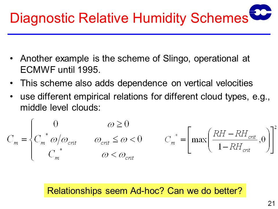 21 Diagnostic Relative Humidity Schemes Another example is the scheme of Slingo, operational at ECMWF until 1995.