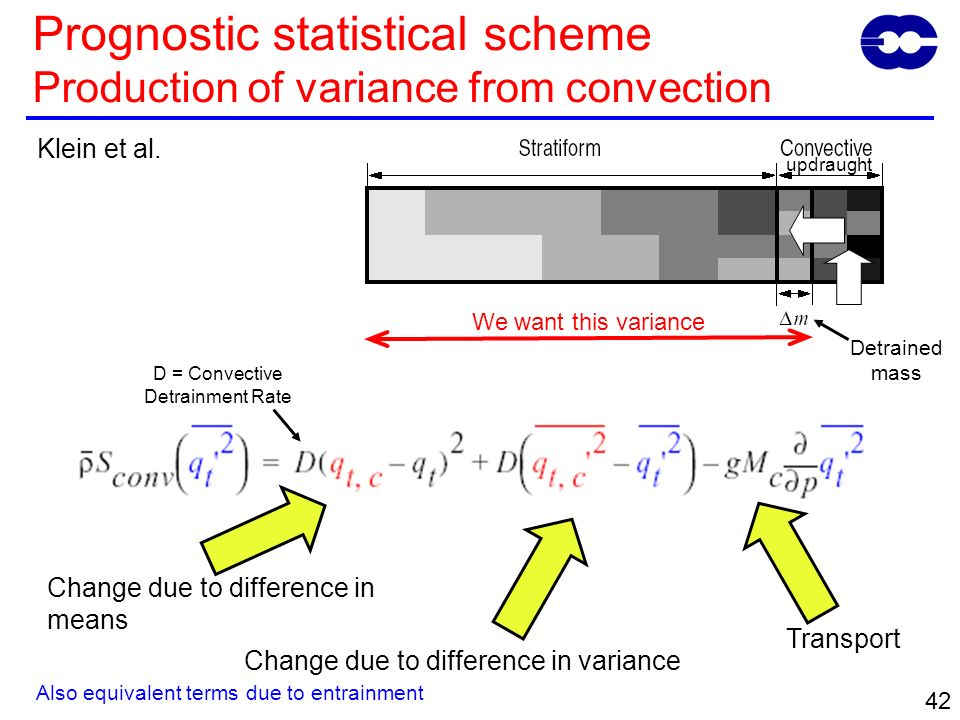 42 Prognostic statistical scheme Production of variance from convection Klein et al.