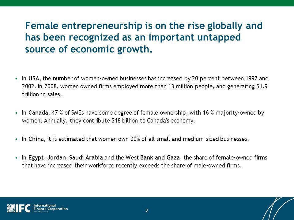 Female entrepreneurship is on the rise globally and has been recognized as an important untapped source of economic growth.