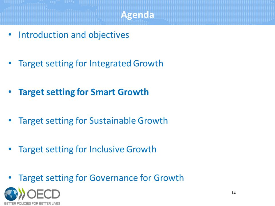 Agenda Introduction and objectives Target setting for Integrated Growth Target setting for Smart Growth Target setting for Sustainable Growth Target setting for Inclusive Growth Target setting for Governance for Growth 14