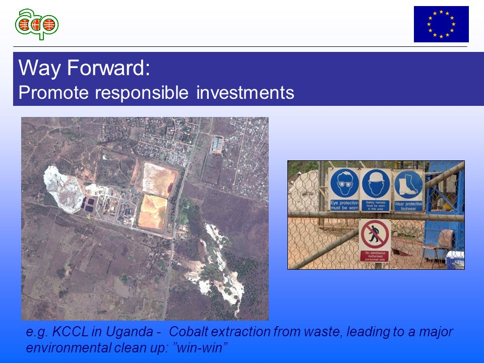 Way Forward: Promote responsible investments e.g.