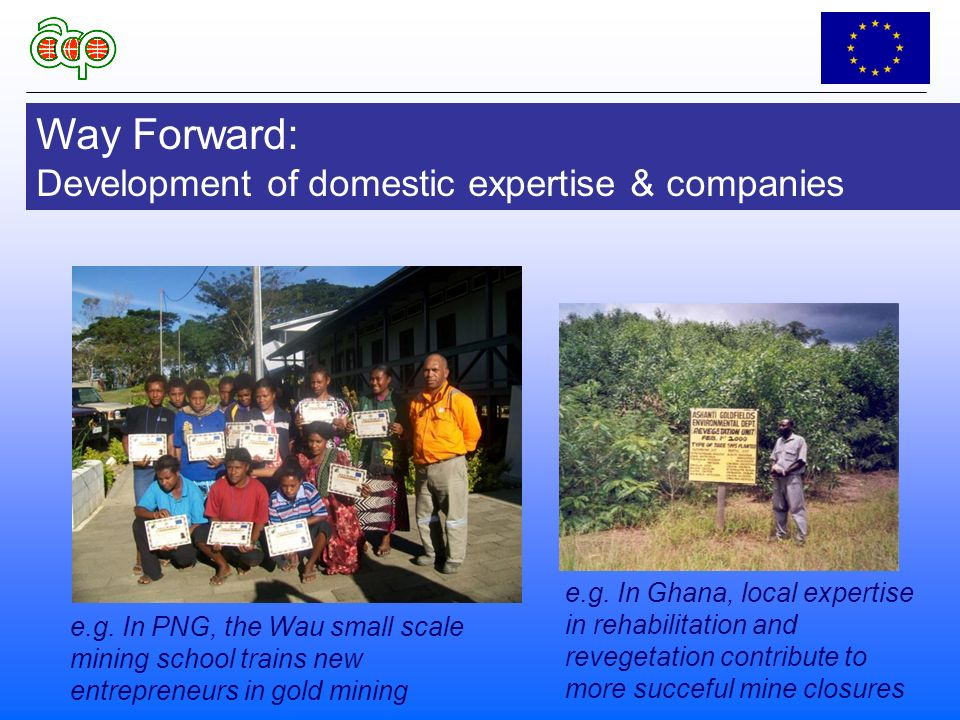 Way Forward: Development of domestic expertise & companies e.g.