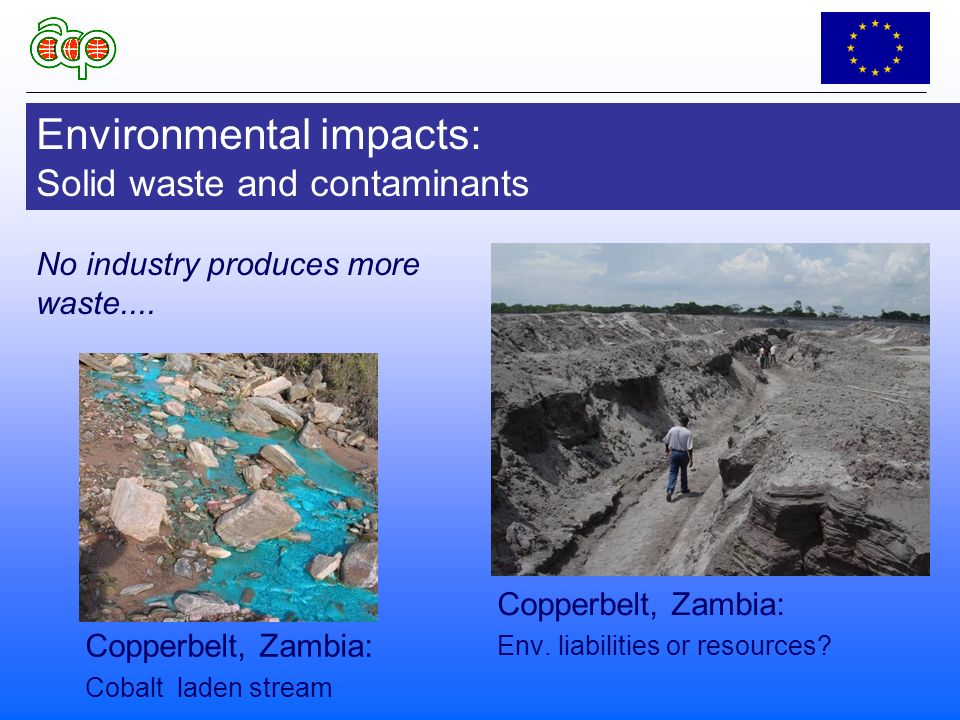 Environmental impacts: Solid waste and contaminants Copperbelt, Zambia: Env.