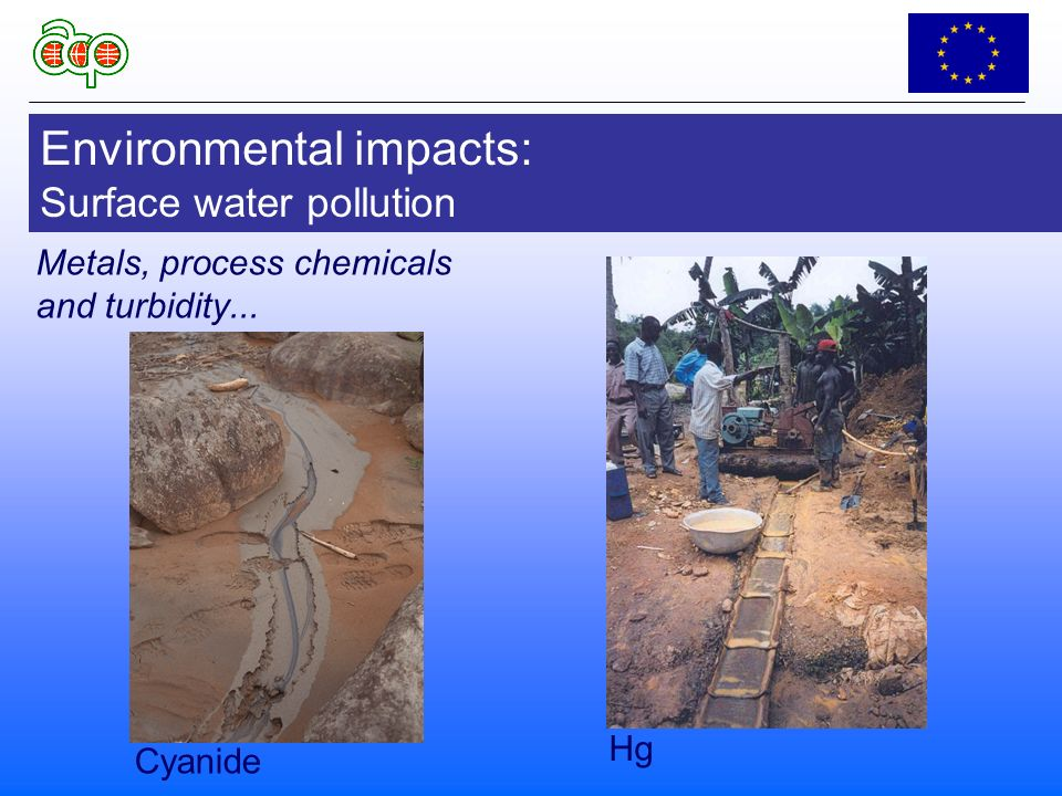 Environmental impacts: Surface water pollution Cyanide Hg Metals, process chemicals and turbidity...