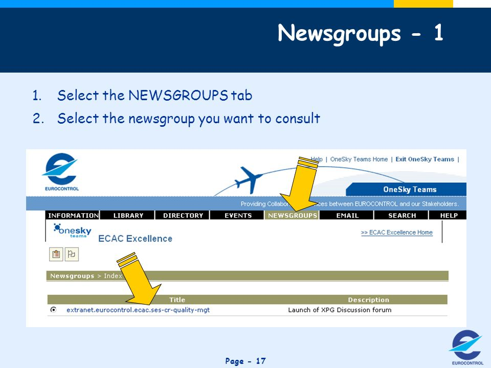Click to edit Master title style Page Select the NEWSGROUPS tab 2.Select the newsgroup you want to consult Newsgroups - 1