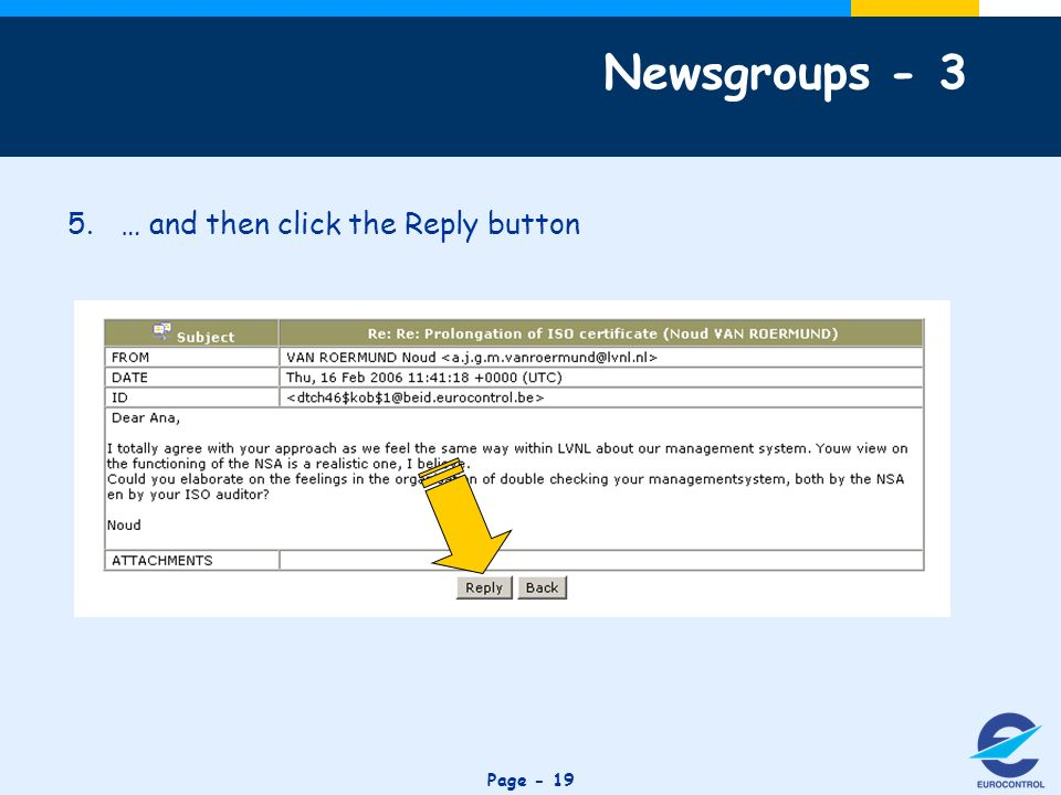 Click to edit Master title style Page … and then click the Reply button Newsgroups - 3