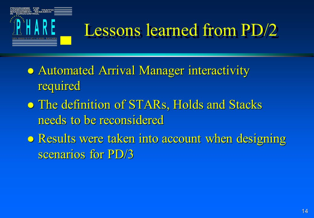 14 Lessons learned from PD/2 l Automated Arrival Manager interactivity required l The definition of STARs, Holds and Stacks needs to be reconsidered l Results were taken into account when designing scenarios for PD/3