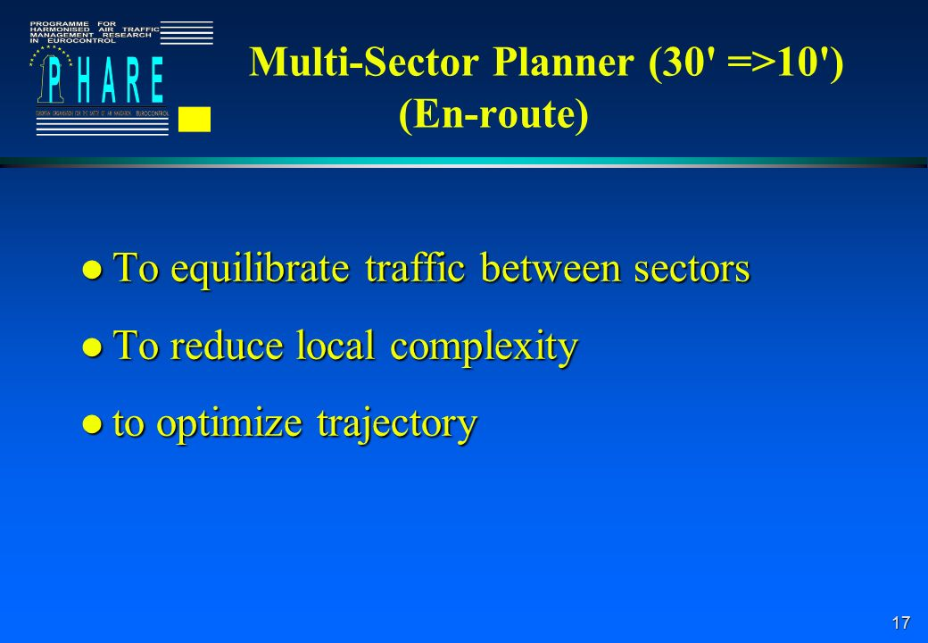 17 Multi-Sector Planner (30 =>10 ) (En-route) l To equilibrate traffic between sectors l To reduce local complexity l to optimize trajectory