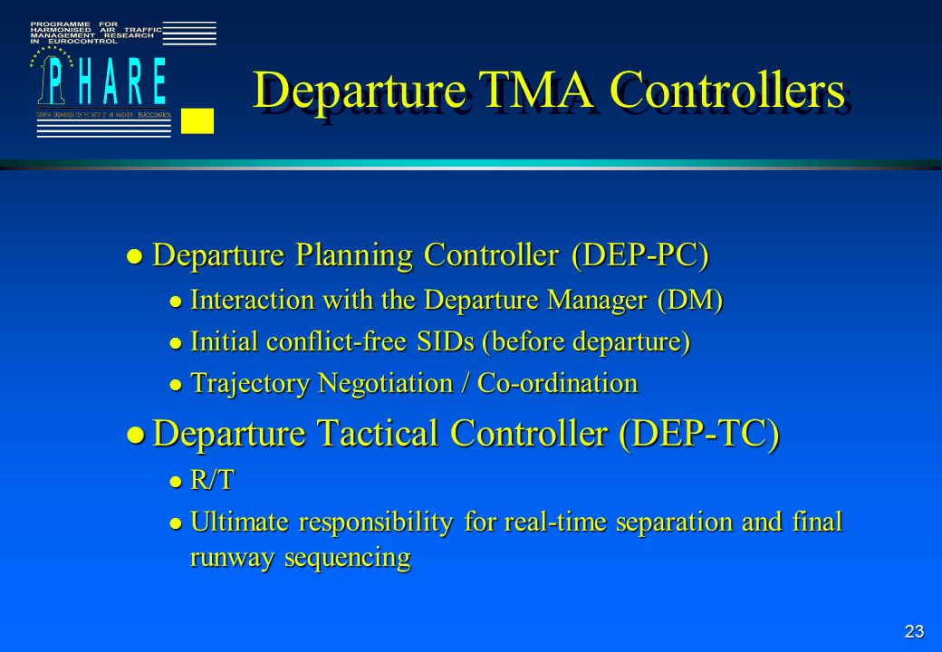23 Departure TMA Controllers l Departure Planning Controller (DEP-PC) l Interaction with the Departure Manager (DM) l Initial conflict-free SIDs (before departure) l Trajectory Negotiation / Co-ordination l Departure Tactical Controller (DEP-TC) l R/T l Ultimate responsibility for real-time separation and final runway sequencing
