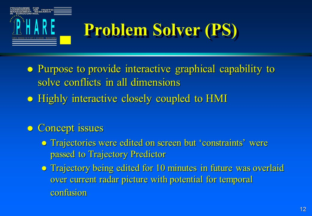 12 Problem Solver (PS) l Purpose to provide interactive graphical capability to solve conflicts in all dimensions l Highly interactive closely coupled to HMI l Concept issues l Trajectories were edited on screen but constraints were passed to Trajectory Predictor l Trajectory being edited for 10 minutes in future was overlaid over current radar picture with potential for temporal confusion l Purpose to provide interactive graphical capability to solve conflicts in all dimensions l Highly interactive closely coupled to HMI l Concept issues l Trajectories were edited on screen but constraints were passed to Trajectory Predictor l Trajectory being edited for 10 minutes in future was overlaid over current radar picture with potential for temporal confusion