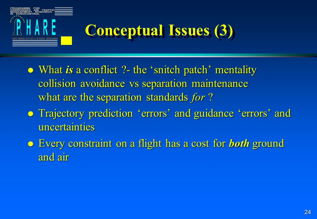 24 Conceptual Issues (3) l What is a conflict - the snitch patch mentality collision avoidance vs separation maintenance what are the separation standards for .