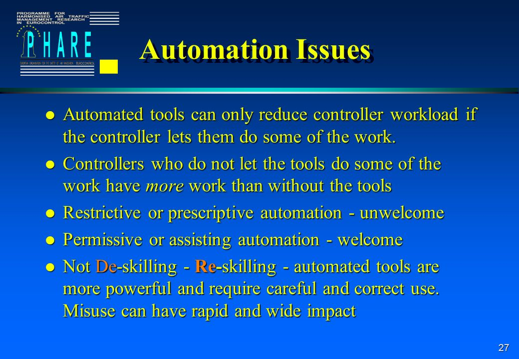 27 Automation Issues l Automated tools can only reduce controller workload if the controller lets them do some of the work.
