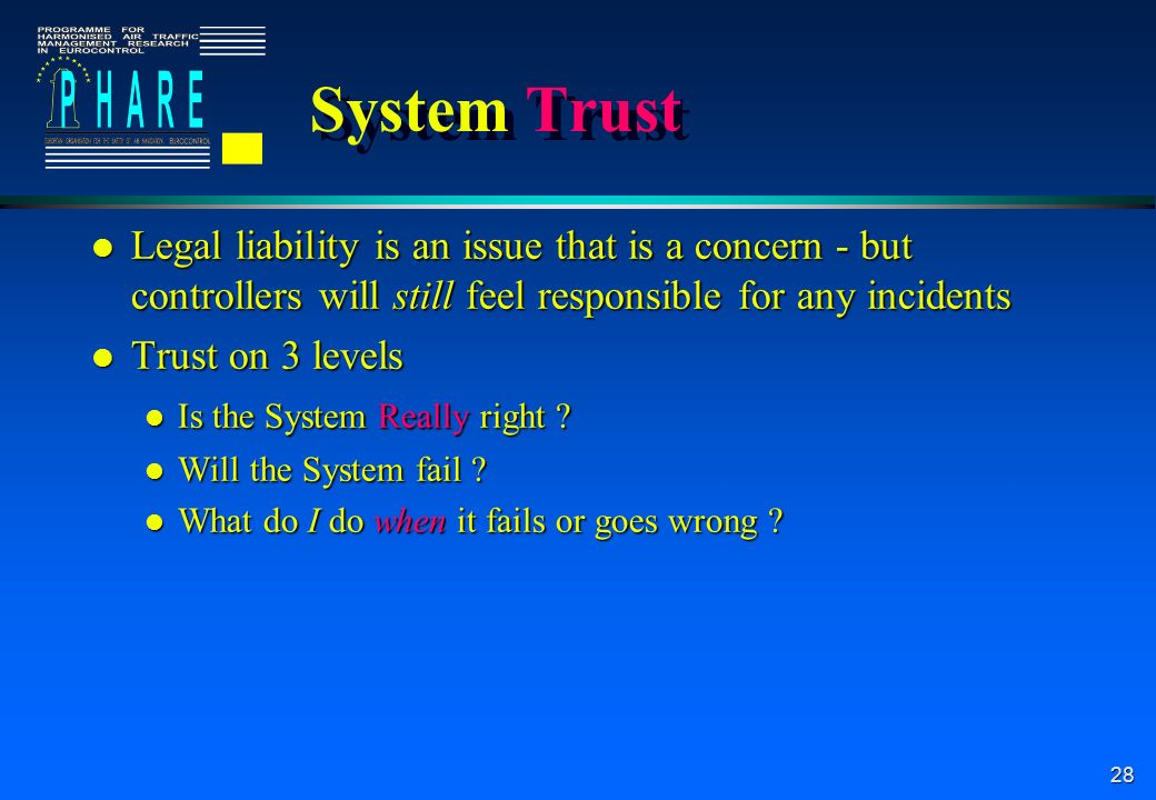 28 System Trust l Legal liability is an issue that is a concern - but controllers will still feel responsible for any incidents l Trust on 3 levels l Is the System Really right .