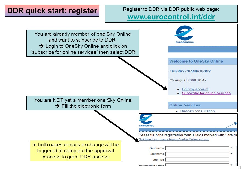 1 DDR quick start: register Register to DDR via DDR public web page: www.eurocontrol.int/ddr You are already member of one Sky Online and want to subscribe to DDR: Login to OneSky Online and click on subscribe for online services then select DDR You are NOT yet a member one Sky Online Fill the electronic form In both cases e-mails exchange will be triggered to complete the approval process to grant DDR access
